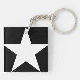 Stern/Quadrat (doppelseitiges) Keychain Schlüsselanhänger