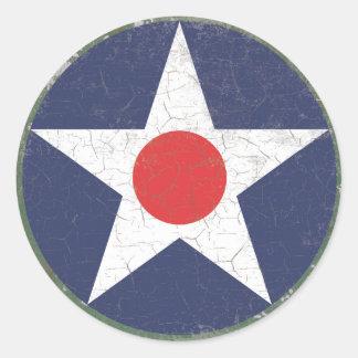 Stern Roundel rustikaler roter Punkt Runder Aufkleber