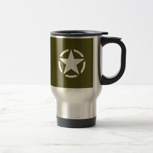 Stern-Schablone-Vintages Jeep-Abziehbild auf Kaffee Tassen