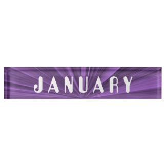 Stern-Schreibtisch-Nummernschild Januars lila