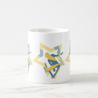 Stern-Skater, Blau u. Gelb Kaffeetasse