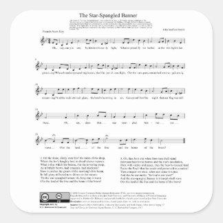 Stern-Spangled Fahnen-Nationalhymne-Musik-Blatt Sticker