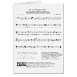 Stern-Spangled Fahnen-Nationalhymne-Musik-Blatt Grußkarte