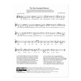 Stern-Spangled Fahnen-Nationalhymne-Musik-Blatt Postkarte