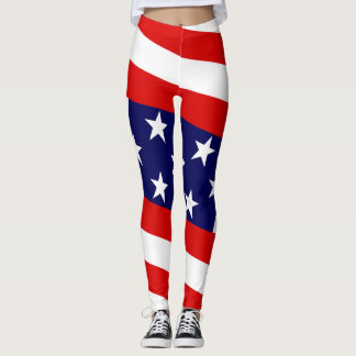 Stern u. Stangen:  US-Flaggen Leggings