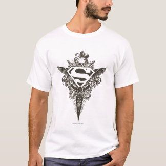 Stern-und Schädel-Weiß-Logo des T-Shirt