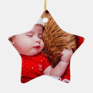 Stern-Verzierung des personalisierten Babys erste Keramik Ornament