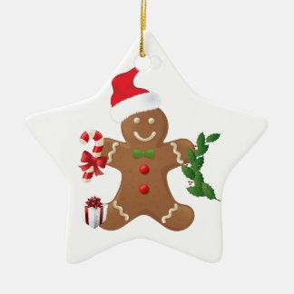 Stern-Weihnachtsverzierung, Lebkuchen-Mann Keramik Ornament