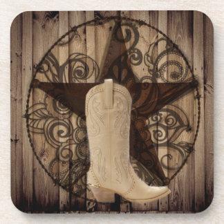 Stern-Western-Landcowgirl Scheunen-hölzernes Texas Untersetzer