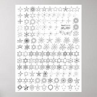 Sterne 1 Tätowierungs-Blitz Poster