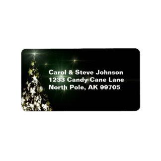 Sterne auf Weihnachtsbaum-Himmels-Mitternacht-Grün Adressaufkleber