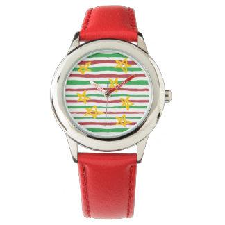 Sterne auf Weihnachtsstreifen Armbanduhr