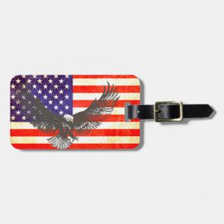 Sterne u. Streifen Amerika-Flagge u. Gepäckanhänger