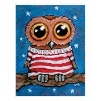 Sterne u. Vogel-Kunst-Postkarte der Streifen-breit
