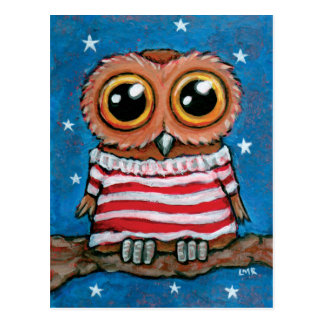 Sterne u. Vogel-Kunst-Postkarte der Streifen-breit Postkarte