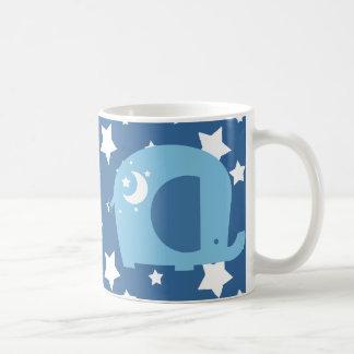 Sterne und Mond-Blau-Elefant Kaffeetasse