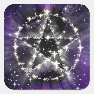 Sterne und Pentagramaufkleber Quadratischer Aufkleber