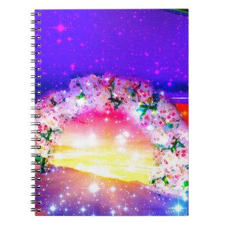 Sterne und Regenbogen der Blumen in der Feier Notizblock