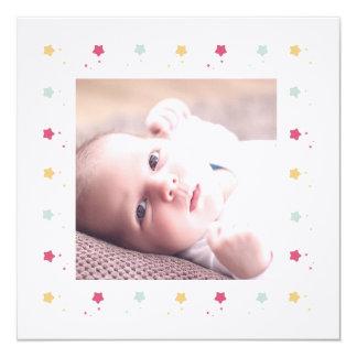 Sternenbesäter Rahmen | Geburtsmitteilung Quadratische 13,3 Cm Einladungskarte
