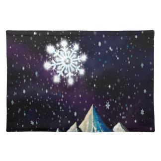 Sternenklare GROSSE Schneeflocken des Himmel-w Tischset