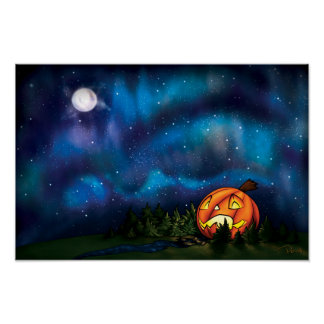 Sternenklare Kürbis-Nächte Poster
