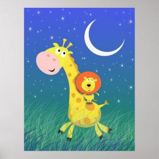 Sternenklare Nacht auf dem des Savanne-die Kunst-D Plakat