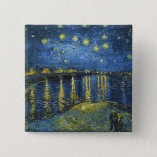 Sternenklare Nacht auf der Rhône durch Vincent van Quadratischer Button 5,1 Cm
