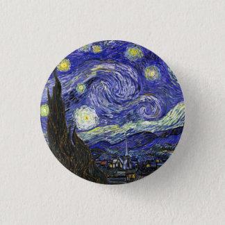 Sternenklare Nacht durch Vincent van Gogh Runder Button 3,2 Cm