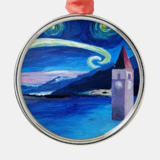 Sternenklare Nacht in der Schweiz - Rundes Silberfarbenes Ornament