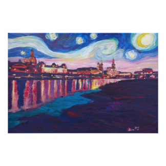 Sternenklare Nacht in Dresden- - Van- Poster
