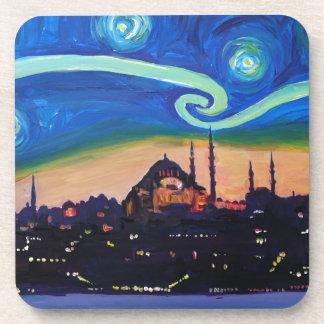 Sternenklare Nacht in Istanbul die Türkei Getränkeuntersetzer
