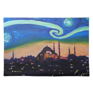 Sternenklare Nacht in Istanbul die Türkei Stofftischset