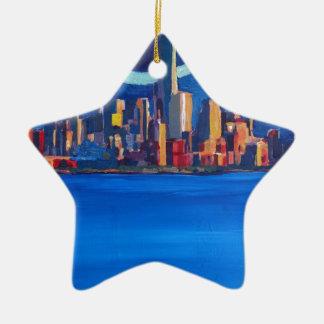 Sternenklare Nacht in New York City - Keramik Ornament