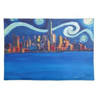 Sternenklare Nacht in New York City - Stofftischset