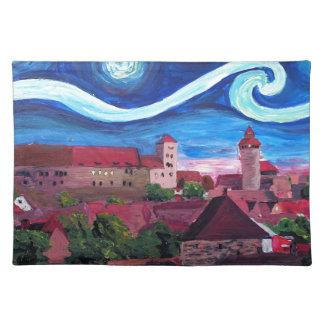 Sternenklare Nacht in Nürnberg Deutschland mit Tischset