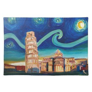 Sternenklare Nacht in Pisa mit lehnendem Turm Stofftischset