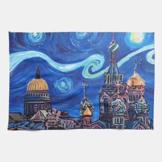 Sternenklare Nacht in St Petersburg Russland Geschirrtuch