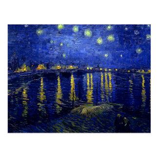 Sternenklare Nacht Rhône durch Van Gogh Postkarte
