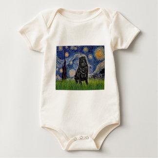 Sternenklare Nacht - schwarzer Chinese Shar Pei Baby Strampler