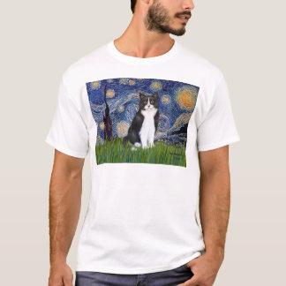 Sternenklare Nacht - Schwarzweiss-Katze T-Shirt