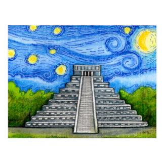 Sternenklare Nacht über aztekischen Ruinen Postkarte