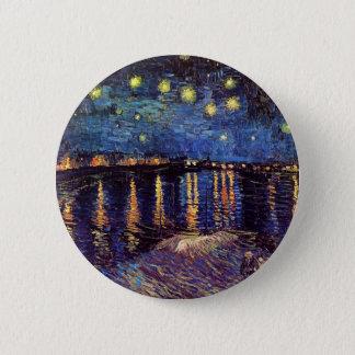 Sternenklare Nacht über der Rhône durch Van Gogh Runder Button 5,1 Cm