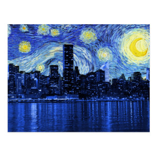 Sternenklare Nacht über New York City Postkarte