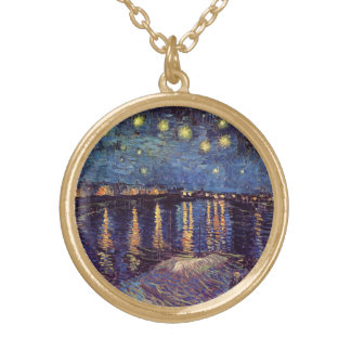 Sternenklare Nacht Van Gogh über der Rhône, schöne Vergoldete Kette