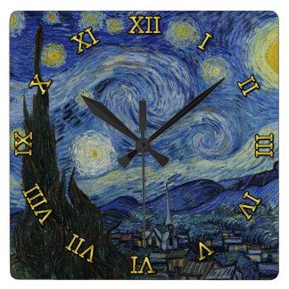 Sternenklare Nacht Vincent van Gogh Quadratische Wanduhr