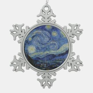 Sternenklare Nacht Vincent van Gogh Schneeflocken Zinn-Ornament