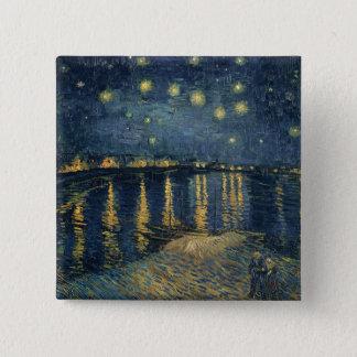 Sternenklare Nacht Vincent van Goghs | über der Quadratischer Button 5,1 Cm