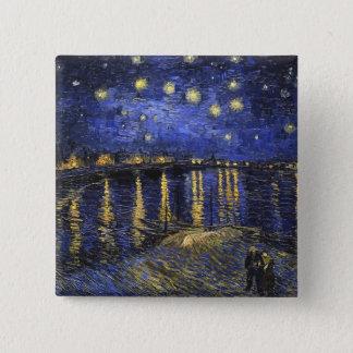 Sternenklare Nacht Vincent van Goghs über der Quadratischer Button 5,1 Cm