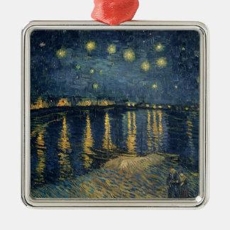 Sternenklare Nacht Vincent van Goghs | über der Quadratisches Silberfarbenes Ornament
