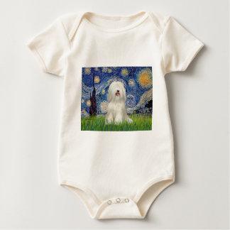 Sternenklare Nacht - weißes tibetanisches Terrier Baby Strampler